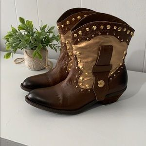 Vince Camuto Brown/Gold Leather Boots